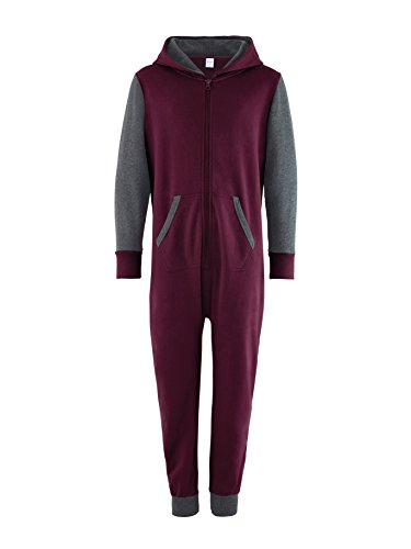 Comfy Co Kinder Kontrast All-in-One Relaxed Fit Loung - Burgundy/Charcoal - 34