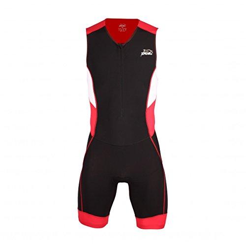 ZAOSU Herren Trisuit Racing Suit   Triathlonanzug Einteiler Men ohne Ärmel, Farbe:rot, Größe:M