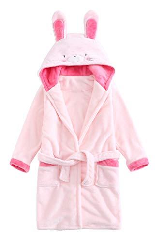 ABClothing Mädchen-Häschen-Bademantel-Roben-mit Kapuze Kaninchen-Flanell-Nachtwäsche-Umhang-Kleid-Kind-Unisexbär Cosplay Kostüm-Pyjamas Weiche warme Nachthemd-Robe-Rosa (Häschen Kaninchen Kostüm Kind)