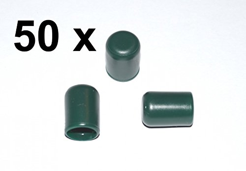 50 x Kappe für Rundrohr D=8 mm L=12 mm grün PVC
