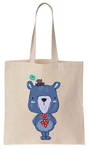 Finest Prints Cute Little Gentleman Teddy Bear Cotton Canvas Tote Bag