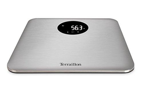 Terraillon Elektronische Personenwaage, 4 Speicherplätze, Farbige Darstellung Gewichtsveränderungen und des BMIs, Automatisches Ein- und Ausschalten, Technologie Ultra-Slim, 150 kg, R-Color, Edelstahl