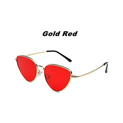 Liuao Cat Eye Sonnenbrille Frauen Markendesigner Weibliche Sonnenbrille Sunglass Lady,Gold Red