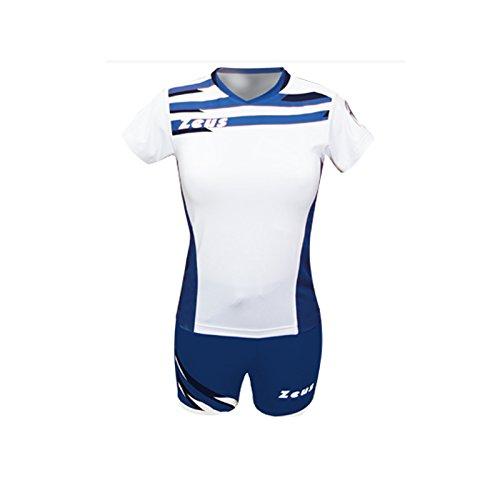 Zeus Kit Itaca Donna Damen Volleyball Trikot Hose Shirt Indoor Handball Training Ausbildung Weiss-Royal-Blau (S)