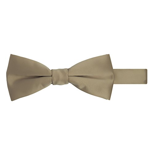 Jacob Alexander Men's Pretied Banded Adjustable Solid Color Bowtie - Tan (Button-down-tuxedo)
