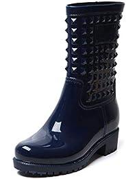 BotaLluviaMujer Altas BotaGomaBotaImpermeableBotines WellingtonBoots Exterior Zapatos Planos Antideslizante Trabajo Jardín Invierno Negro Azul 36-43