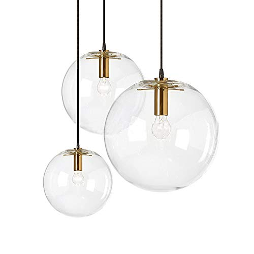 MZStech Sphärische Klassische LED Glas Pendelleuchte Kreative Einzelne Licht Kopf Glas Lampe, Deckenleuchte Basis E27 Gold Licht Halter Kronleuchter Licht Hängelampe(25CM) -