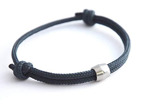 KOMIMAR Surfer Armband NAVY STEEL - Fußband - Halskette - Halsband - Maritim Schmuck - Surfer Schmuck - Freundschaftsarmband - Geschenkidee - Skaterschmuck - Surferarmband - Herrenarmband - Armbänder Und Halsband