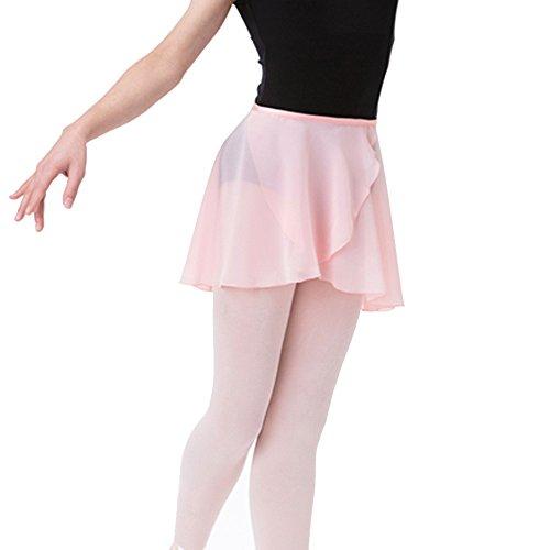 Bezioner Kinder Ballett Wickelrock Chiffon Damen Tanz Rock Mit Taille Krawatte Rosa S