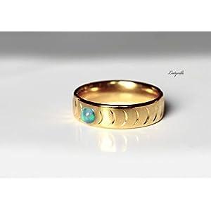 Mond Ring Labradorit – Band Mondphasenring mit Halbmond und Vollmond aus Labradorit/Astrologie/Himmlisch/Geschenk für Sie /
