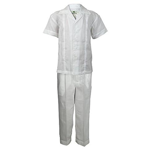 Mojito Kids Boys 100% Linen Embroidered White Trim Design Shirt