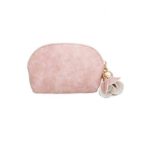 Super niedriger Preis UFACE Blumen Anhänger Mini Brieftasche Frauen Leder Mini Mini Wallet Halter Zip Geldbörse Clutch Handtasche (Grapefruitpulver) - Cognac Mini Anhänger