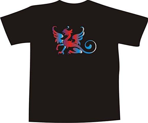 T-Shirt F1102 Schönes T-Shirt mit farbigem Brustaufdruck - schwarzen Drachen Mehrfarbig