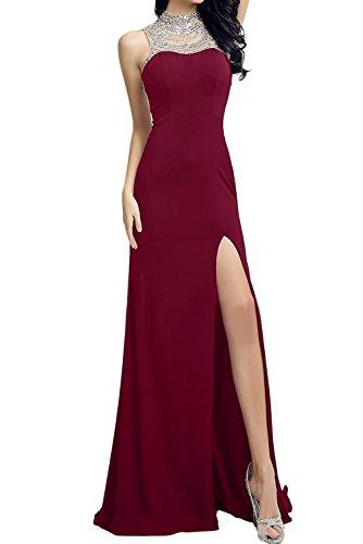 TOSKANA BRAUT Glamour Neu Schwarz Abendkleider 2017 Damen Partykleider  Paillette Stein Chiffon Ballkleider mit Schlitz Weinrot