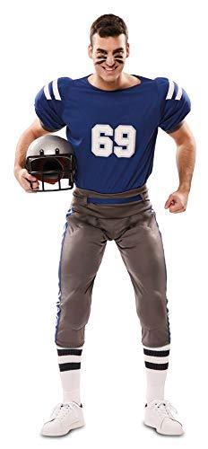 Erwachsene Für Football Spieler Kostüm - shoperama Herren Kostüm American Football Player mit Polstern Blau/Grau Gr. M/L Quaterback Sportler Spieler
