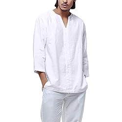 LuckyGirls Camisetas Suelto Camisa Cuello en V Retro Lino de Algodón Casual Poleras Polo Moda Sudaderas Chándales Mangas de Siete Cuartos de los Hombres