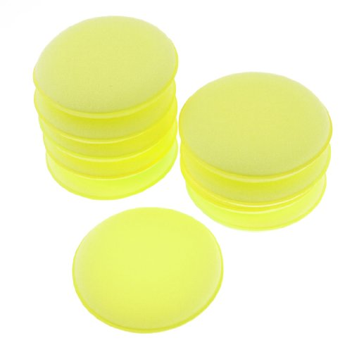 sourcingmapr-10pz-automobile-giallo-chiaro-spugna-tonda-lucidatrice-pagliette-strumento-di-pulizia
