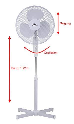 Elta Standventilator SVT-40.5 (16 Zoll / 40cm Durchmesser, höhenverstellbar bis zu 1,22m, neigbar, Oszillation, 45Watt)