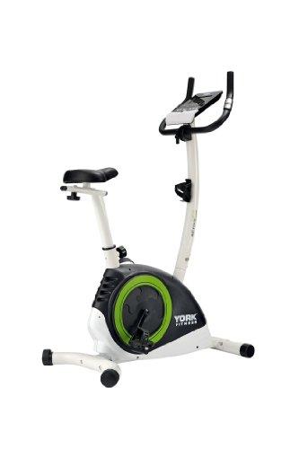 York Fitness Heimfahrrad Active 120 Cycle - Bicicletas estáticas (7 kg, imán, con Monitor, magnético), Color Negro/Blanco/Verde