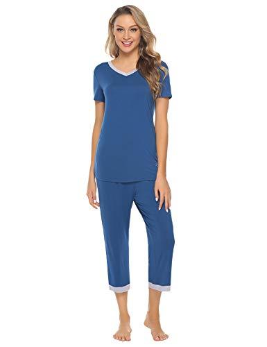 Hawiton Pijamas Mujer Verano Corto Algodón Conjunto