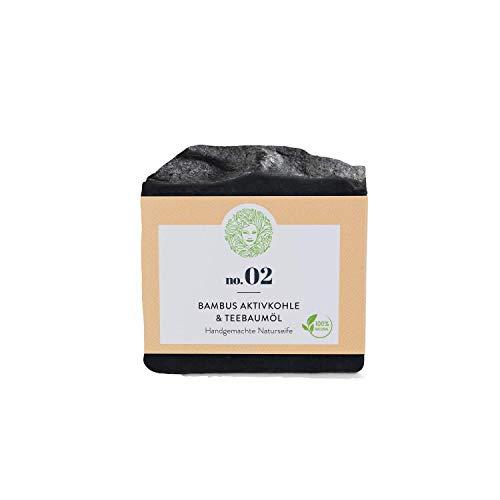 Natürliche schwarze Gesichtsseife - Bambus-Aktivkohle & Teebaumöl - bei Akne, Pickel und Unreinheiten – Fettige und unreine Haut – Vegan - 60g
