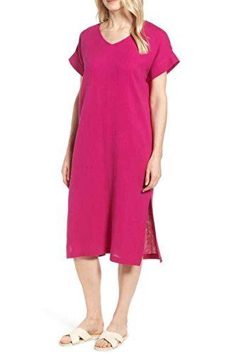 Eileen Fisher Womens Medium Petite V-Neck Shift Dress Pink PM V-neck Shift