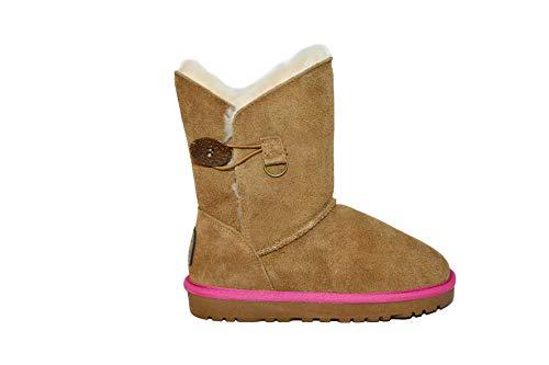 Reissner Lammfelle Lammfell Boots Lara Hellbraun mit Pinker Einfassung Halbstiefel Schlupfstiefel Winterstiefel (Halbschaft) Hellbraun-pink, Größe 42