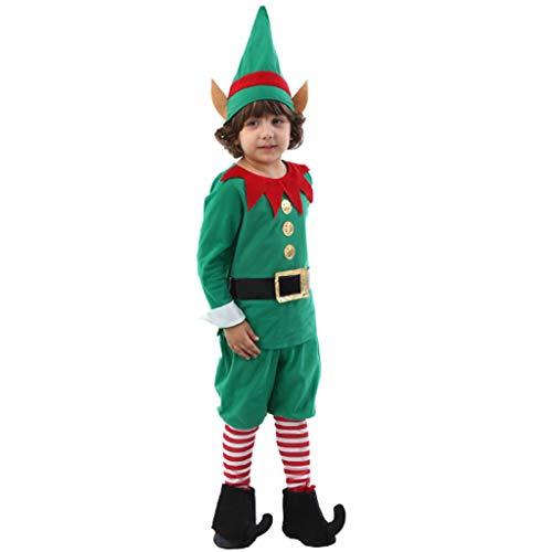 DONGBALA Boy Weihnachten Elf Kostüme, Weihnachten Cosplay Festliche Kleider Für Weihnachtsabend Lustige Cosplay Partei Junge Und Grils Enthält Tops Hosen Mützen Stiefel Sets * 2,L (Girl's Jester Kostüm)