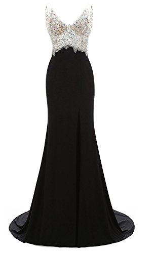 Izanoy Damen V-Ausschnitt Lange Ballkleider Kristall Party Abendkleider mit Seitenschlitz Schwarz Drei DE 42 - Kristallen Mit Abendkleider
