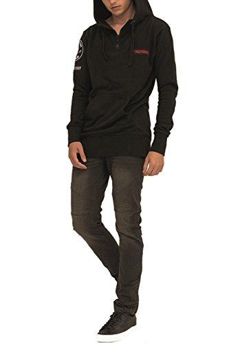 trueprodigy Casual Herren Marken Sweatjacke mit Aufdruck, Oberteil cool und stylisch mit Kapuze (Langarm & Slim Fit), Hoodie für Männer bedruckt Farbe: Schwarz 2573110-2999 Black