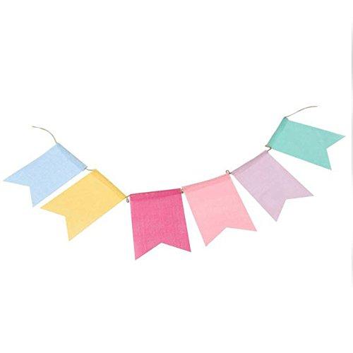 Cupcinu Bunte Wimpelkette aus Leinen, Schwalbenschwanz-Wimpelkette für Happy Birthday Foto Rep Hochzeit Feier Babyparty Kommunion Festivals Dekoration