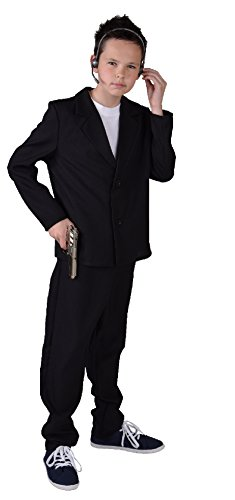 M207030-164 Kinder Junge Bodyguardkostüm Bodyguardanzug - Spion Kostüm Für Jungen