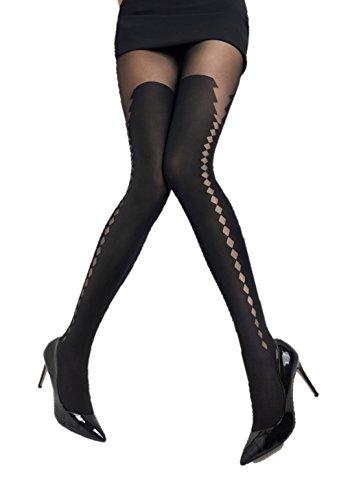 Marilyn blickdichte Seitennaht-Strumpfhose , 60 Denier, Größe 40/42 (M/L), Farbe Schwarz (black) (Denier Strumpfhose 40)