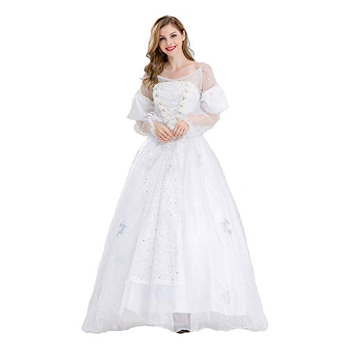 HYMZP Kostüm Damen, Karneval White Queen Dress Partykleid, Halloween Alice Im Wunderland Adult Game Anime Cosplay Damenkleid,M
