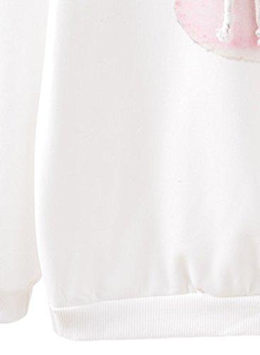 Futurino - Sweat à capuche - Imprimé animal - Manches Longues - Femme white and peach