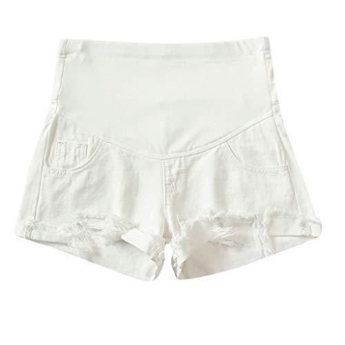 WNuanjun, Leichte Schwarze weiße Sommer-Kurze Hosen für Schwangere Frau zerrissene Jeans Mutterschaft Feste Kurze Hosen, die Stütze-Bauch Pantalon Premama Pantalones Cortos pflegen -