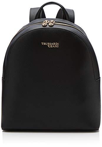Trussardi jeans t-easy light backpack, zaino donna, nero, 26x30x11.5 cm (w x h x l)