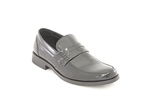 AwAy college mascherino mocassino nero lucido in pelle loafer real leather black