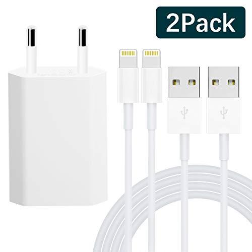 VESARL [MFI certifié] Chargeurs Secteur with Câble [2-Pack-1M], Adaptateur USB Universel Mural & Chargeur Phone pour iPhone XS,XR,XS Max,X,8,8 Plus,7,7 Plus 6s Plus 5s