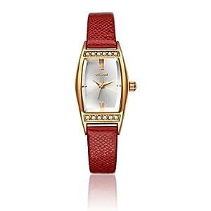 vilam® montre carrée cadran cuir Citizen Band 2035 de quartz analogique'S v1011l femmes de la mode (couleurs assorties) , Gold-Wine