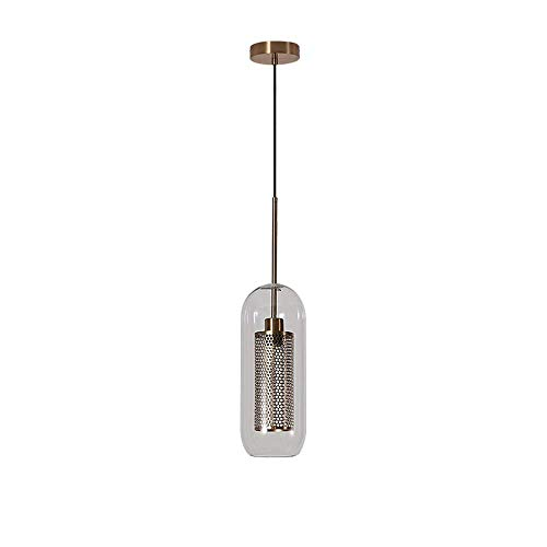 Xiao Fan ▶ Industrieller Kronleuchter Antikes klares Glas 1-Light Mini Anhänger hängendes Licht Cafe Bar Café Nacht Halle Weg Laden Club Retro Loft E27 Decke Droplight (Farbe: Bronze-H: 52CM) ◀ - Glas-mini-anhänger Kronleuchter