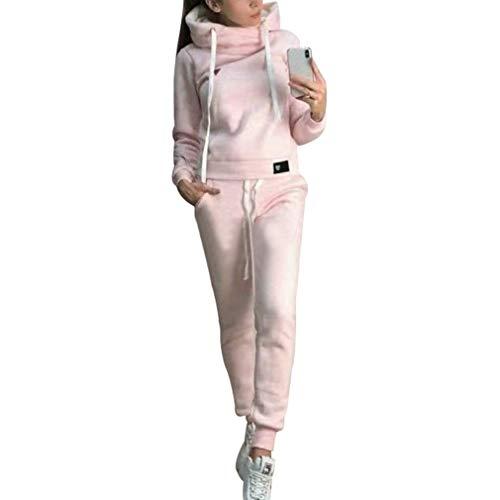 Due pezzi tuta da ginnastica con foderato caldo donna, manica lunga felpe con cappuccio pullover e pantaloni lungo moda tuta sportiva casual abbigliamento sportivo