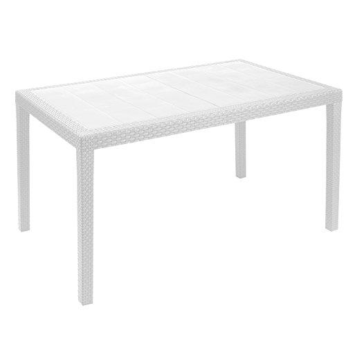 Mojawo Terrassentisch Kunststoff 150x90cm Prince Weiß rechteckig Balkontisch Gartentisch...
