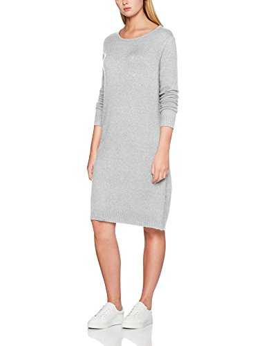 Vila Clothes Damen Kleid VIRIL L/S Knit Dress - NOOS Grün (Pine Grove Detail: Melange) 38 (Herstellergröße: M)
