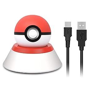 Ständer und Ladegerät für Nintendo Switch Pokeball Plus, Ladekabel und Halterung für Lets Go Pikachu Lets Go Eevee Pokeball Plus Controller mit USB-Ladekabel Typ C