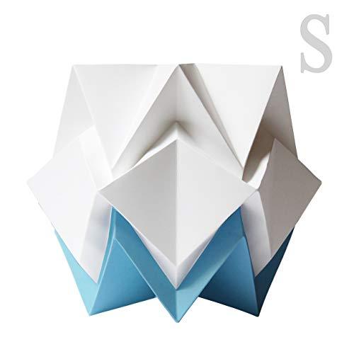 Original Papier Origami Tischlampe - weiß und himmelblau -