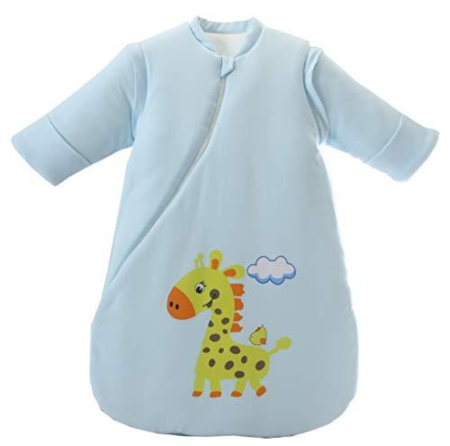 Jaimelavie Baby 3.5 Tog Winter Schlafsack ganz soft Kleine Kinder Schlafanzug mit abnehmbar Langarm aus Baumwolle (S/Baby Höhe 60-73cm, Blau Giraffe)