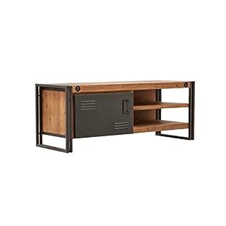 Meuble TV/Buffet Bas Vintage 1 Porte & 2 niches/Bois d'acacia Massif et métal/Haute qualité – Collection Workshop