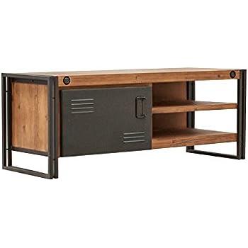 meuble tv buffet bas vintage 1 porte 2 niches bois d 39 acacia massif et m tal haute qualit. Black Bedroom Furniture Sets. Home Design Ideas