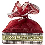 Line N Curves Satin Fabric Royal Basket With Top Net Dry Fruit Packing, Wedding Gifting, Diwali Gift Hamper, Baby Shower Gifting (1 Large Size Basket)